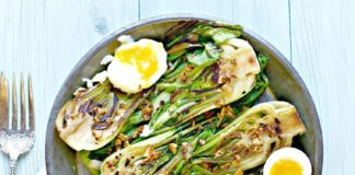 poached eggs with wilted bok choy & garlic mushrooms