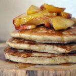 buckwheat pancakes with cinnamon apples & maple syrup
