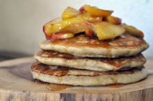 buckwheat pancakes with cinnamon apples & maple syrup